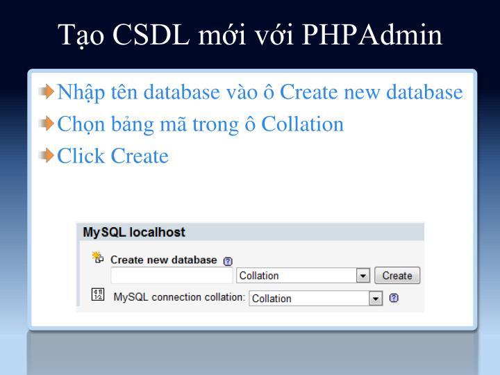 Tạo CSDL mới với PHPAdmin