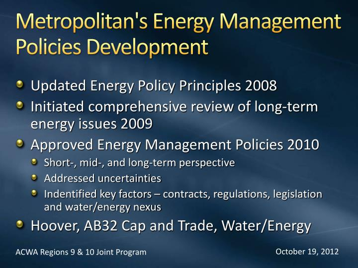Metropolitan's Energy Management