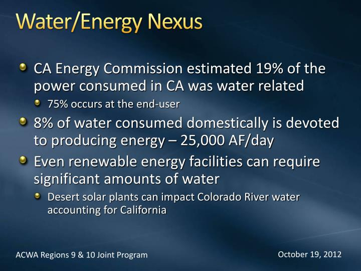 Water/Energy Nexus