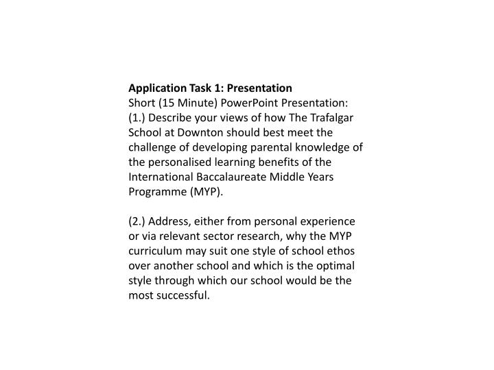 Application Task 1: Presentation