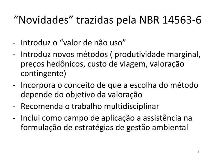 """""""Novidades"""" trazidas pela NBR 14563-6"""
