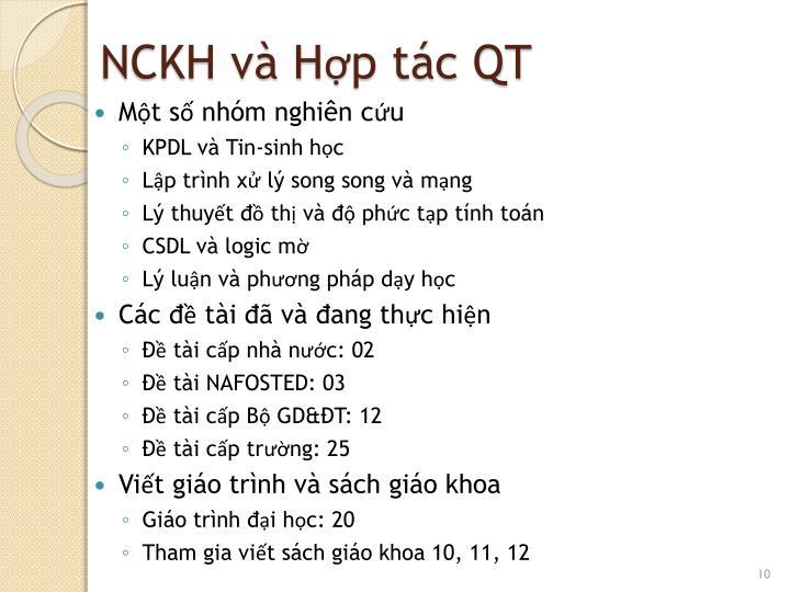 NCKH và Hợp tác QT