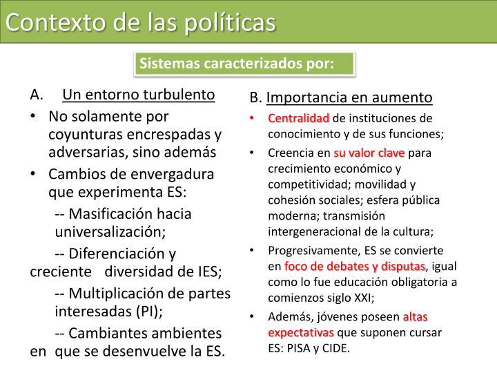 Contexto de las políticas