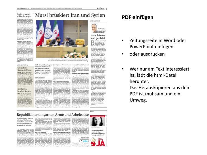 PDF einfügen