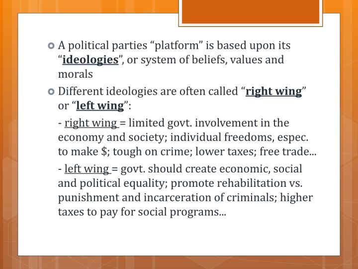 """A political parties """"platform"""" is based upon its """""""