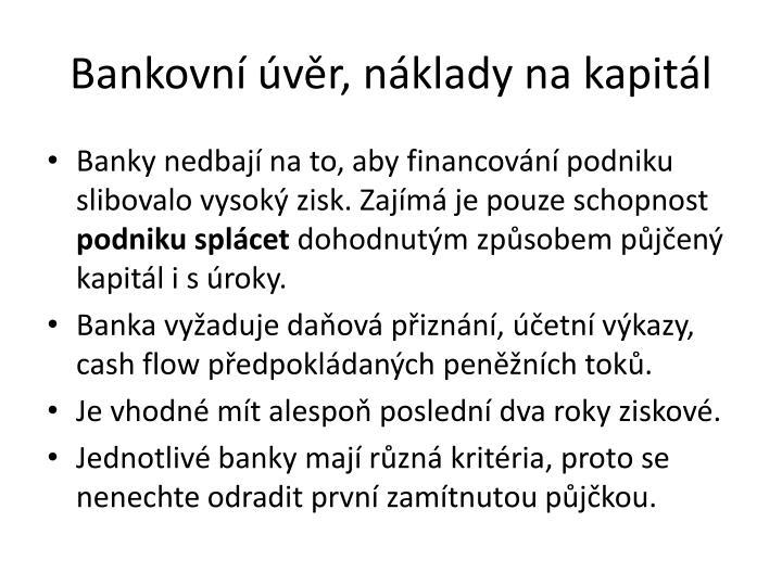 Bankovní úvěr, náklady na kapitál