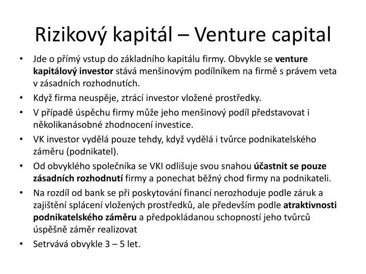 Rizikový kapitál – Venture