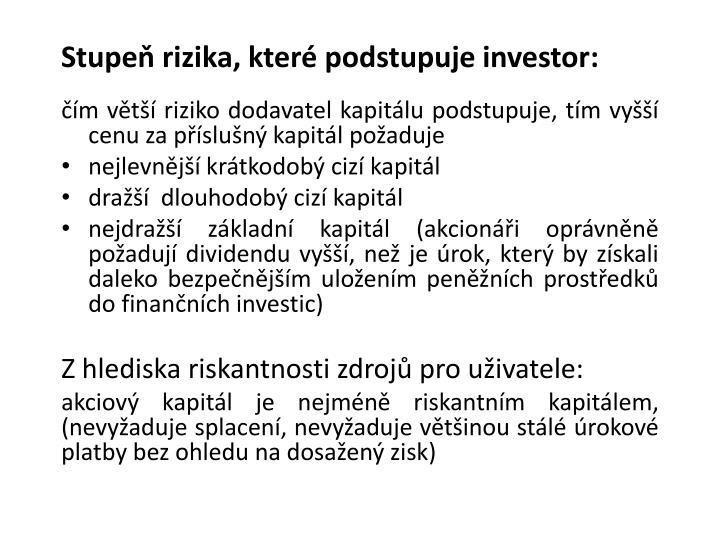 Stupeň rizika, které podstupuje investor