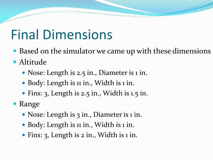 Final Dimensions