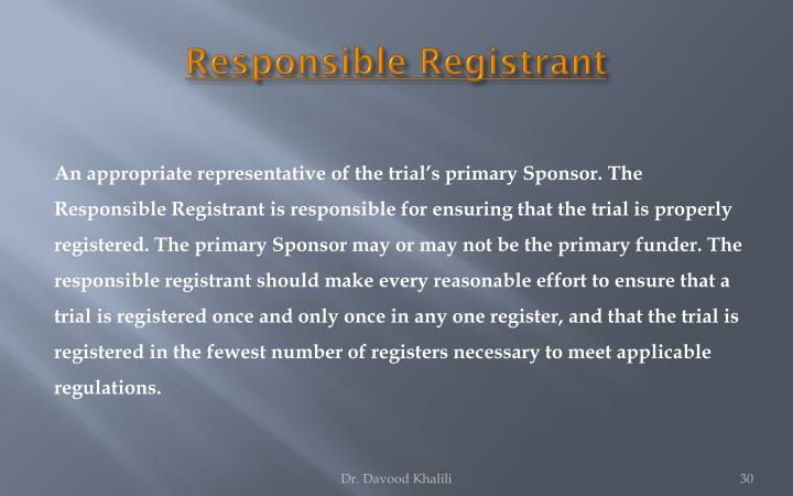 Responsible Registrant