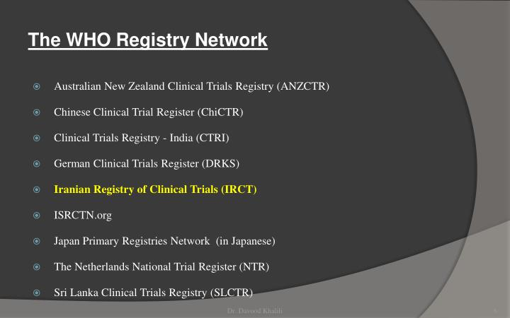 The WHO Registry Network