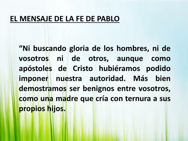 EL MENSAJE DE LA FE DE PABLO
