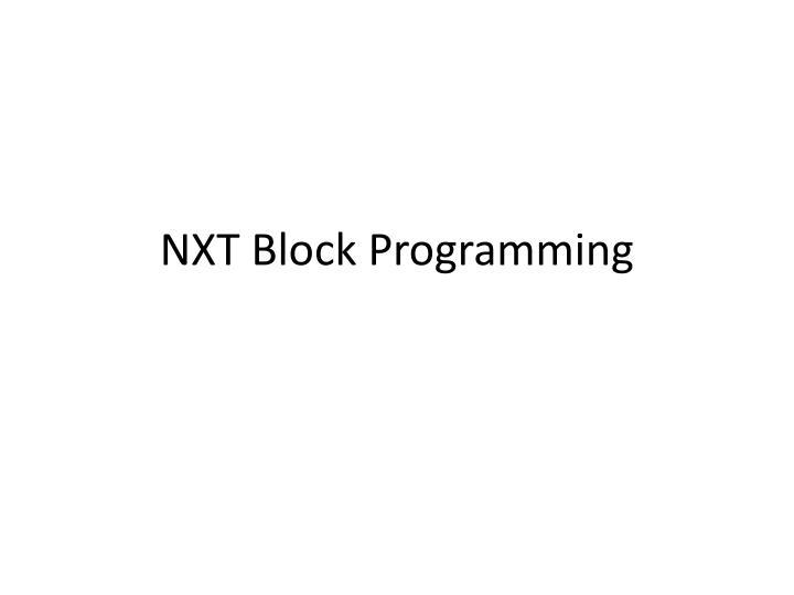 NXT Block Programming