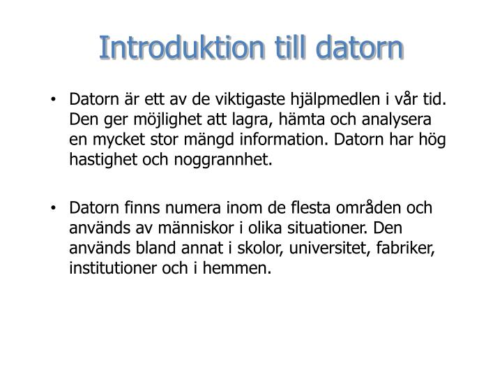 Introduktion till