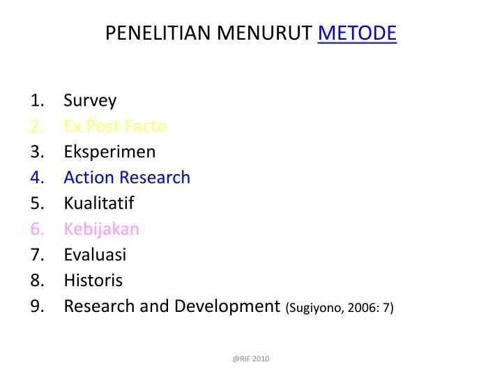 PENELITIAN MENURUT