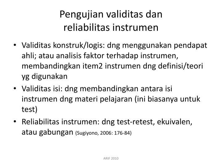 Pengujian validitas dan