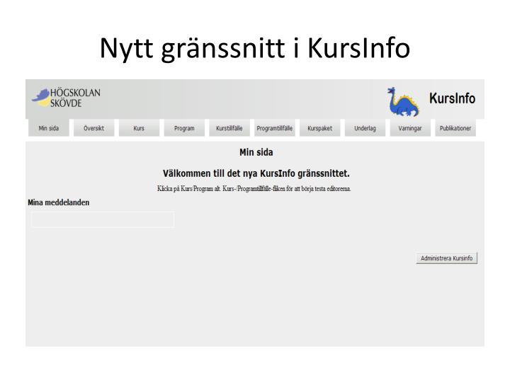 Nytt gränssnitt i KursInfo