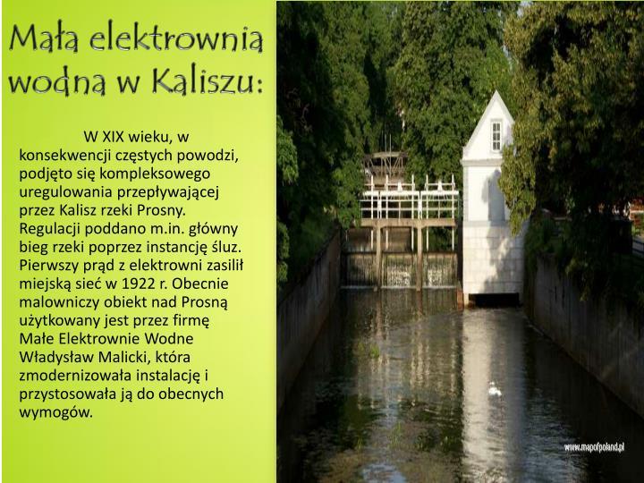 Mała elektrownia wodna w Kaliszu: