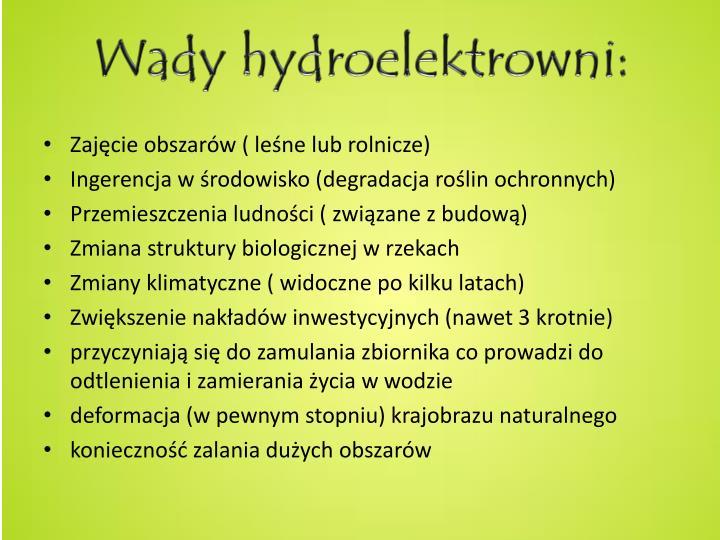 Wady hydroelektrowni: