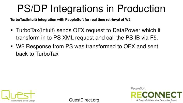 PS/DP Integrations in Production