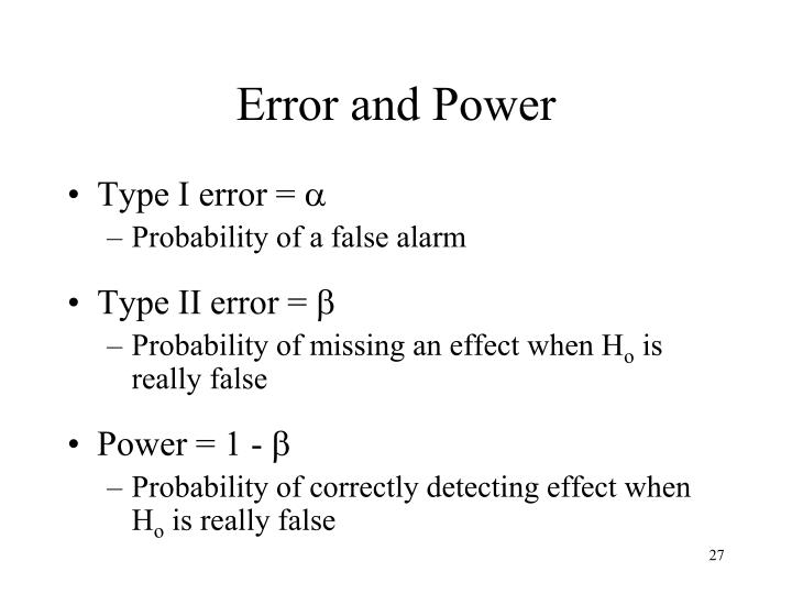 Error and Power