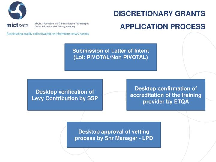 DISCRETIONARY GRANTS APPLICATION PROCESS