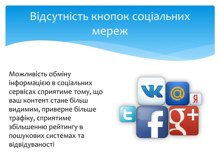 Відсутність кнопок соціальних мереж