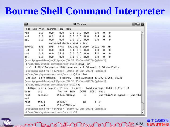Bourne Shell Command Interpreter