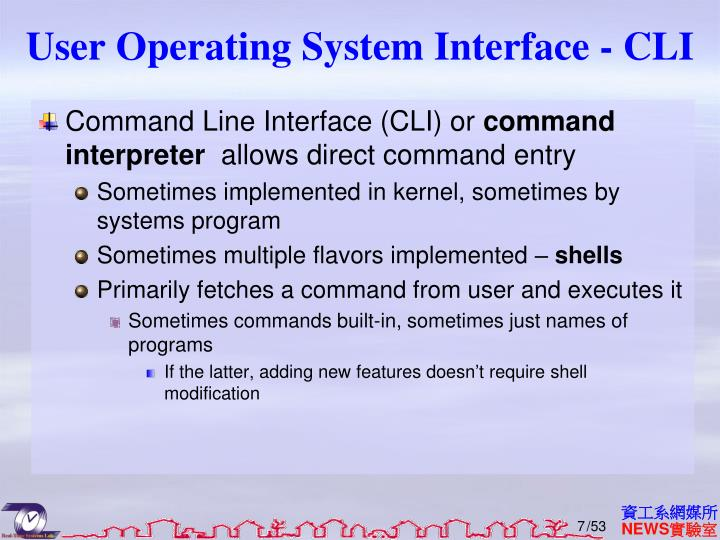 User Operating System Interface - CLI