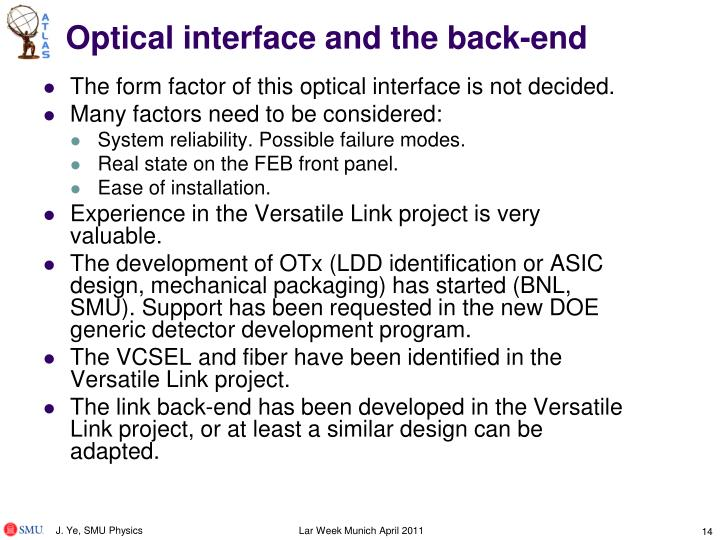 Optical interface and the back-end