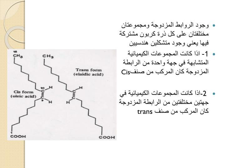 وجود الروابط المزدوجة ومجموعتان مختلفتان على كل ذرة كربون مشتركة فيها يعني وجود متشكلين هندسيين