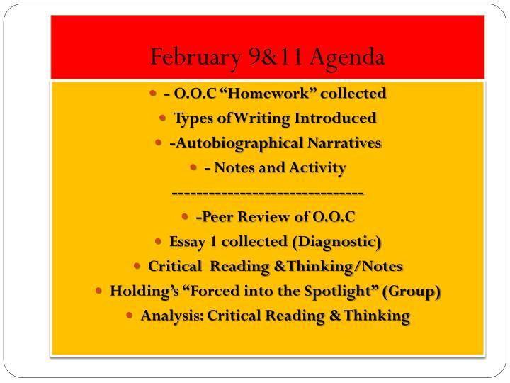 February 9&11 Agenda