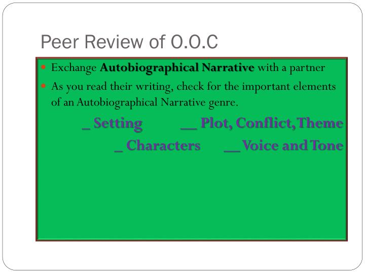 Peer Review of O.O.C