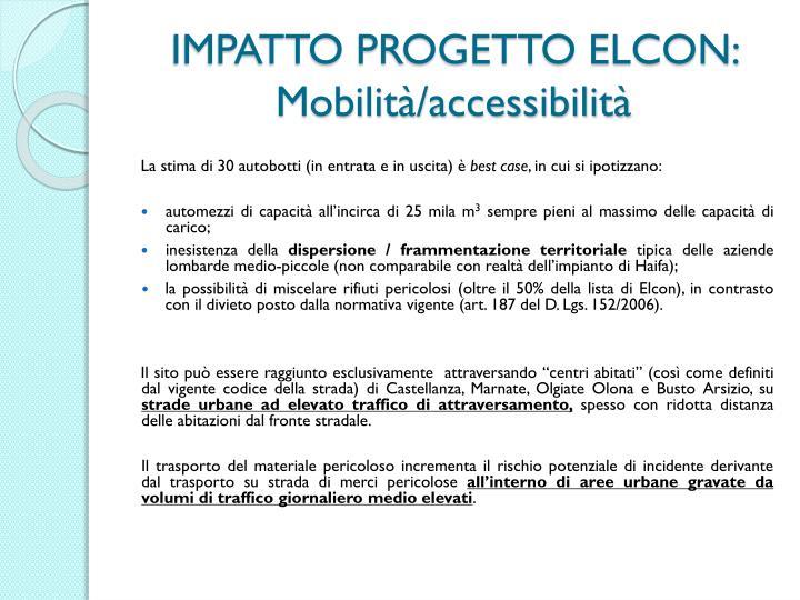 IMPATTO PROGETTO ELCON: Mobilità/accessibilità