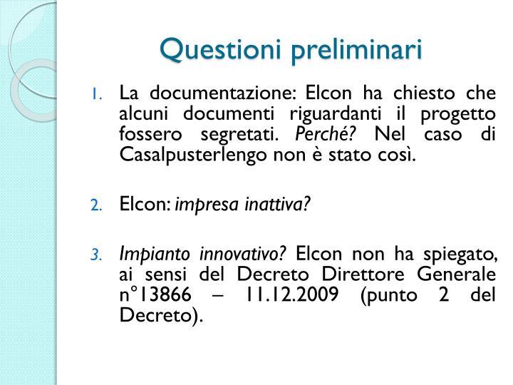 Questioni preliminari