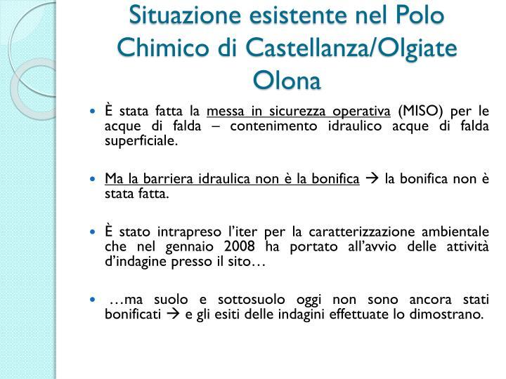 Situazione esistente nel Polo Chimico di Castellanza/