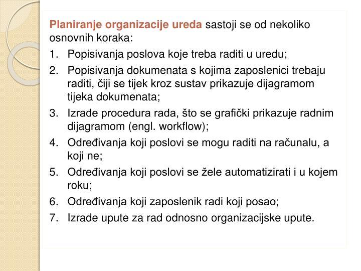 Planiranje organizacije ureda