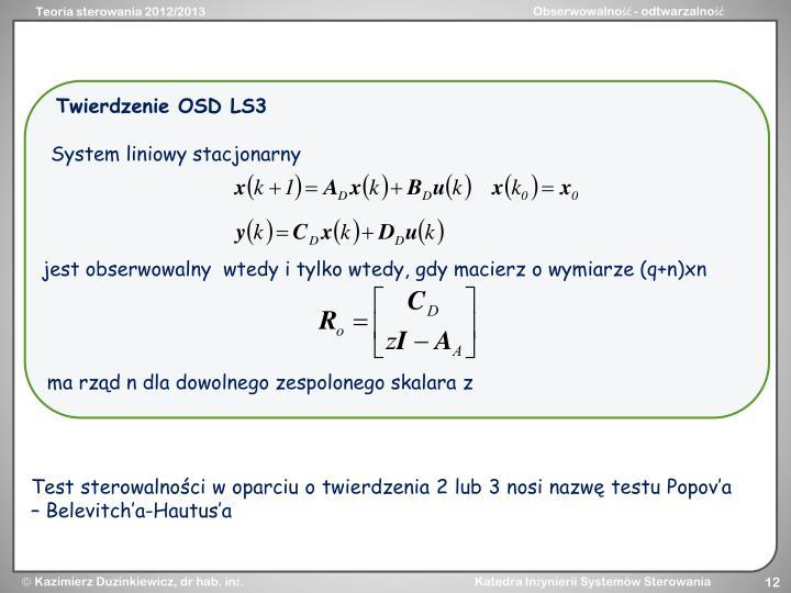 Twierdzenie OSD LS3