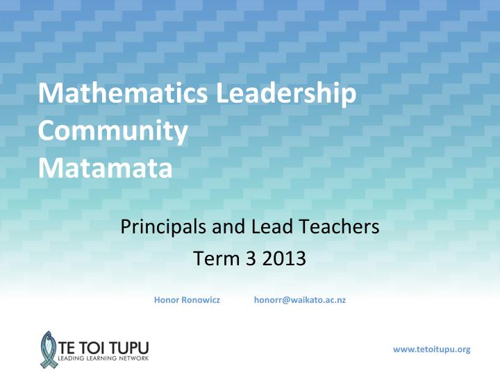 Mathematics leadership community matamata