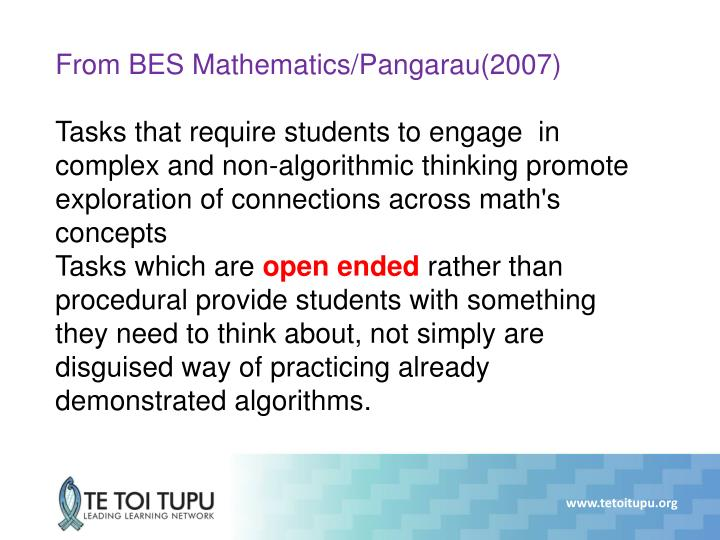From BES Mathematics/