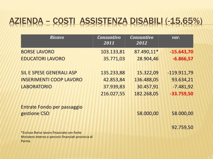 AZIENDA – COSTI  Assistenza disabili (-15,65%)