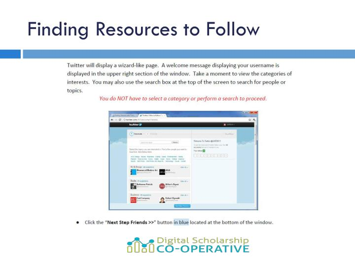 Finding Resources to Follow