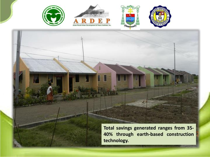 Total savings generated ranges from 35-40% through earth-based construction technology.