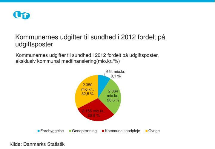 Kommunernes udgifter til sundhed i 2012 fordelt på udgiftsposter