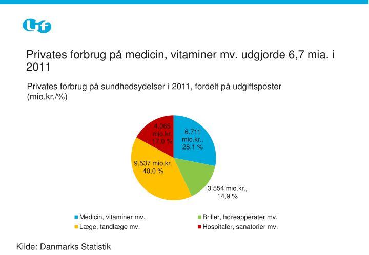 Privates forbrug på medicin, vitaminer mv. udgjorde 6,7 mia. i 2011