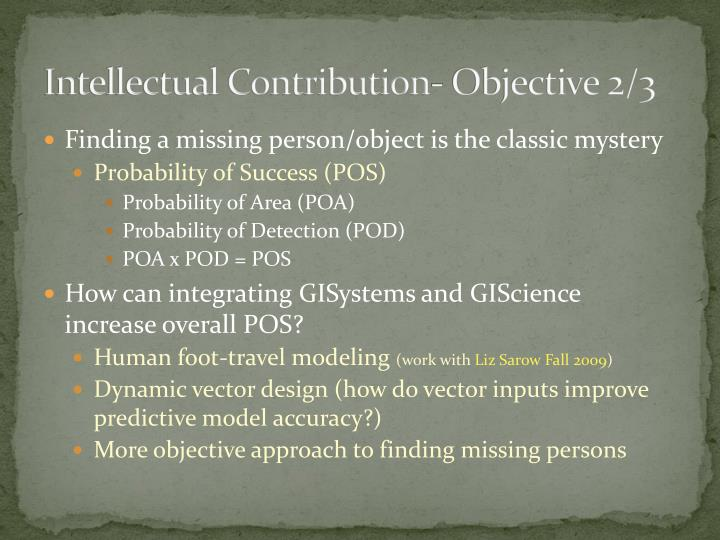 Intellectual Contribution- Objective 2/3
