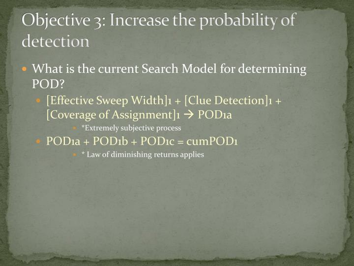 Objective 3: Increase the probability of detection