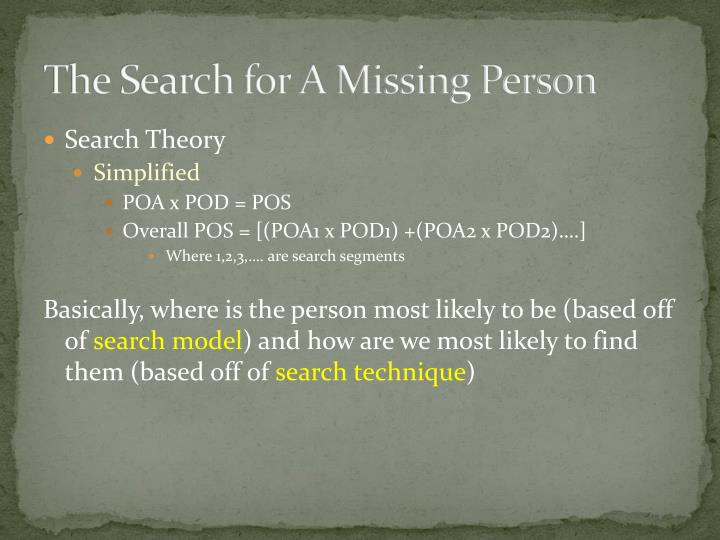 The Search for A Missing Person