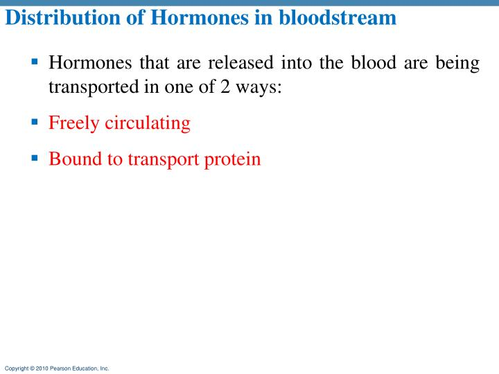Distribution of Hormones in bloodstream