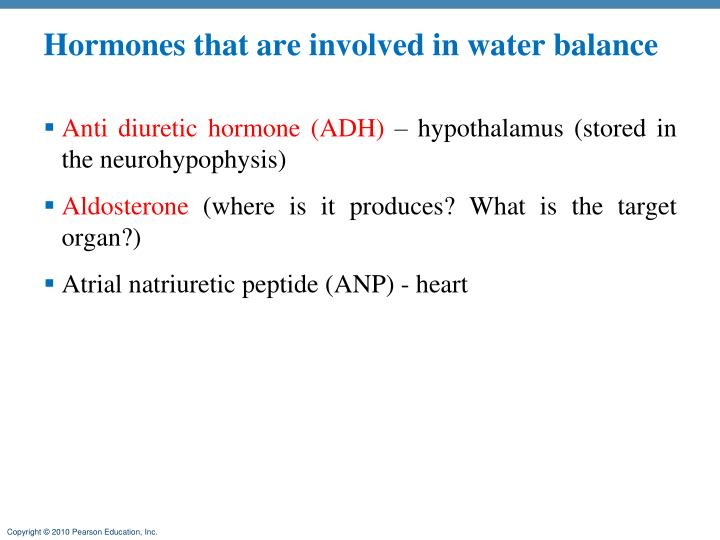 Hormones that are involved in water balance